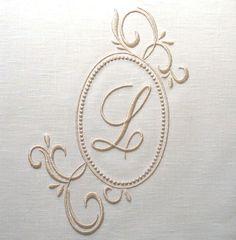 CUSTOM Embroidered monogram. Beautiful!