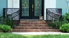 Exterior front entrance stairs wrought iron Ideas for 2019 Porch Step Railing, Wrought Iron Porch Railings, Patio Stairs, Porch Steps, Wrought Iron Gates, Front Stairs, Metal Railings, Front Entry, Front Porch Design