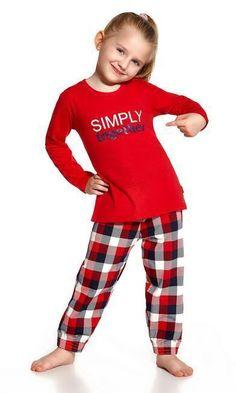 pyjama fille enfant rouge & carreaux together Cornette coton 2 à 14 ans