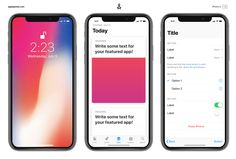 Quickly mockup how your apps will look on the iPhone X with this template. Includes some iOS 11 standard UI elements.