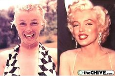 "Marilyn Monroe with and without makeup (6 photos) | It took Marilyn 3 hours to apply her makeup. She's beautiful both ways, but you have to admire the artistry in her full ""look."""