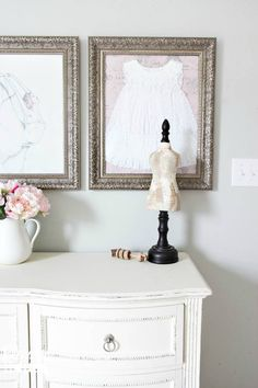 Framed Children's Clothes + Little Girl Bedroom Wall Decor on a Budget | Bless'er House - Great way to declutter closets of sentimental items and display them where they can be appreciated.  And it's free!