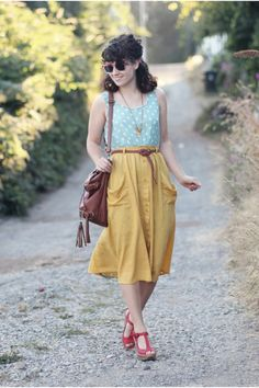 Discover this look wearing Mustard Modcloth Skirts, Aquamarine Lulus Dresses, Dark Brown Handbag Heaven Bags - Mint + Mustard by delightfullytacky styled for Basic, Lunch Date in the Summer Vintage Inspired Fashion, Retro Fashion, Womens Fashion, Skirt Outfits, Cute Outfits, Look Fashion, Fashion Outfits, Fashion Trends, Mustard Skirt