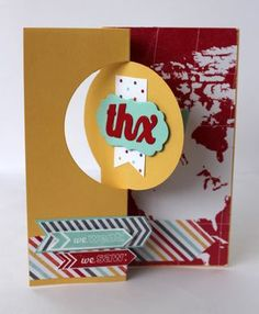 Thinlits card dies stampin up. Travel thankyou card using I am me DSP and Around the World stamp set.