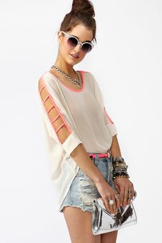 Pop Cutout Top - {nastygal.com}, bc it is too damn hot in #Chicago to wear anything else.