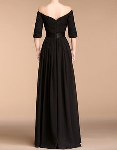 Elegant Off-the-shoulder Black Long Chiffon Mother Of The Bride Evening Dresses with Half Sleeves