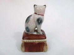 Fitz & Floyd 1981 Cat Ottoman Trinket Ring Box Gray Ceramic Kitty
