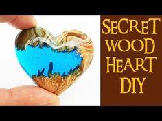 4 SECRET WOOD HEART DIY (no power tools) how to make epoxy resin heart p...
