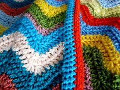 Adventures in Thread: Cheerful Ripple Crochet Blanket Pattern