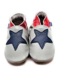 Grijze babyslofjes met donkerblauwe ster - Inch Blue