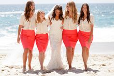 bridesmaids in pencil skirts