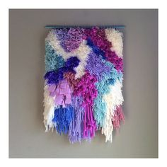 Woven wall hanging / Furry Electric Candy Fields // Handwoven Tapestry Wall hanging Weaving Fiber Textile Wall Art Woven Home Decor Jujujust