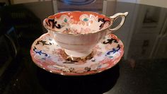 Royal Stafford Hand Painted Tea Cup And Saucer. Peach, White, and Blue Pattern - Fine china teacup.