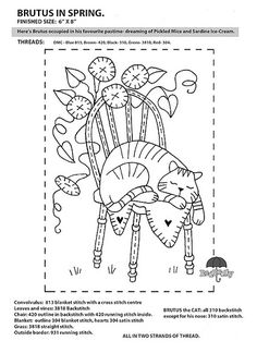 """FREE Red Brolly Cat Stitchery pattern: Catalicious B. """"Brutus in Spring"""" Block Vintage Embroidery, Embroidery Applique, Cross Stitch Embroidery, Embroidery Designs, Primitive Embroidery Patterns, Cross Stitches, Broderie Primitive, Primitive Stitchery, Red Brolly"""