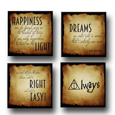 Set of 4 Harry Potter INSTANT DOWNLOAD with quotes by Dumbledore, Harry Potter Wall Art, Poster, Decor, Gift: also in Prints & Canvas by dreamweaverprints on Etsy