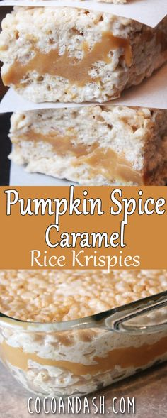 Pumpkin Spice Caramel Rice Krispies - Coco and Ash Pumpkin Spice Caramel Krispie Treats! These are the perfect Fall treat! Filled with Caramel, marshmallows, and a hint of pumpkin spice! Köstliche Desserts, Delicious Desserts, Dessert Recipes, Yummy Food, Dessert Bars, Plated Desserts, Pumpkin Recipes, Fall Recipes, Holiday Recipes