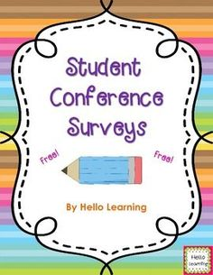 FREE - Parent-Teacher conferences are just around the corner, and this Student Conference Survey FREEBIE will help give you information, from the students perspective, on how the year is going. 4th Grade Classroom, Future Classroom, Classroom Decor, Teaching Kindergarten, Teaching Ideas, Preschool, Teacher Resources, Teacher Tools, Teacher Stuff