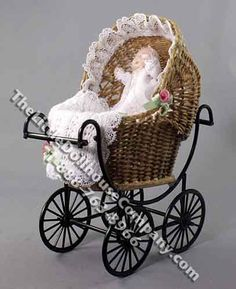 Miniature Baby in Wicker Pram by Patsy Thomas for Dollhouses - Click Image to Close