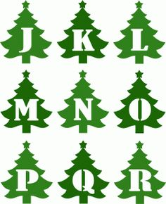 Silhouette Design Store - View Design christmas tree alphabet j-r Boxed Christmas Cards, Christmas Svg, Vintage Christmas, Christmas Holidays, Christmas Decorations, Xmas, Christmas Movies, Christmas Templates, Christmas Printables