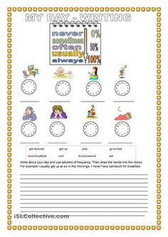 Writing activity( pr. simple , adverbs of frequency, daily routine) - ESL worksheets