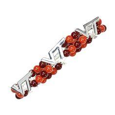 Virginia Tech Hokies Silver Tone and Team Colors Beads St…