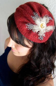Red Knitted Beret  Sophia Knitted Red Beret Headband by EyeHeartMe, $28.00