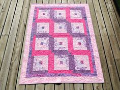 Pink Purple Log Cabin Lap Quilt Ivory Minky Backed by Blueville Our Third January Entry into the QQQ Quilt of the Month Contest :-)