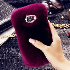 Luxury Rabbit Fur Hair Phone Cases For Samsung Galaxy A3 A5 A7 J2 J3 J5 J7 2016 Bling Diamond Fashion Women Back Cover Cases