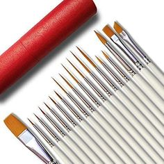 12x Pony Hair Artist Paint Brushes Flat Tipped Natural School Kids Childrens Art