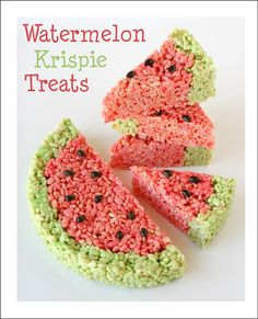 Watermelon Shaped Rice Krispies