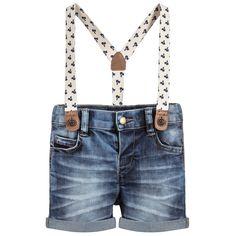 Mayoral - Baby Boy Dark Blue Denim Shorts with Braces | Childrensalon