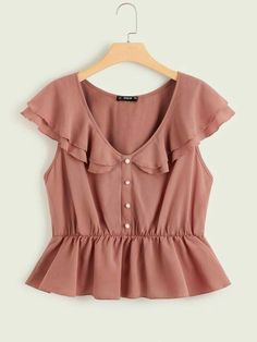 Plus Size Blouses, Plus Size Tops, Girls Fashion Clothes, Fashion Outfits, Teen Fashion, Casual Outfits, Cute Outfits, Frock Design, Peplum Tops