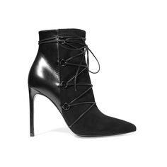 Saint Laurent's leather and suede 'Jane' boots are set on a sleek, slim heel. This point-toe pair is detailed with lace-up ties that frame the foot and provide additional support around the ankle. Style yours with the label's metallic midi dress.