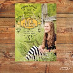 Vintage Yellow Photo Graduation Announcement / Open House Invitation - Digital File on Etsy, $15.00