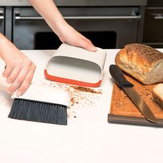 Small messes are no big deal with the Compact Dust Pan & Brush Set. The brush conveniently snaps into the Dust Pan for storage, keeping dirty bristles covered. The Dust Pan's flat bottom allows it to stand up, making it easy to store on countertops or s Cleaning Blinds, Cleaning Hacks, Cleaning Products, Bamboo Cutting Board, Plastic Cutting Board, Dustpans And Brushes, Rubber Lips, Hard Water Stains, Car Gadgets