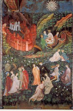 Mois de Mai. Cycle des mois, fresques de la Tour de l'Aigle du château du Buonconsiglio (Trente, Italie), vers 1400. Commandé par le prinve-évêque de Trente, Georges de Lichtenstein. Attention : gothique international.
