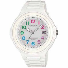 Casio Women's Solar-Powered Watch, Multi-Colored Numerals with White Glossy Resin Strap