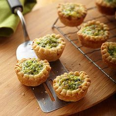 Piecrust mix helps cut the preparation time for these tiny cheese-and-broccoli tarts. Substituting liquid egg product for the whole eggs means less fat and cholesterol.