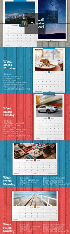 Wall Calendar 2016 (WC01). Stationery Templates. $10.00
