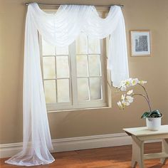 Beautiful White Elegance Window Sheer Voile Scarf X Package includes: one x white window scarf Sheer voile material Made of 100 percent polyester Easy Caring: Machine washable Nicely Packed in a ZIPPER bag Scarf Curtains, Window Scarf, Voile Curtains, Panel Curtains, Sheer Valances, Sheer Curtain Panels, Sheer Drapes, Curtain Fabric, Window Coverings