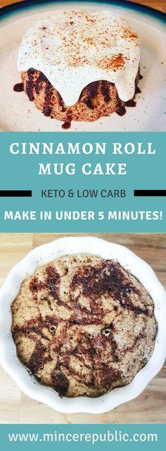 Cinnamon Roll Mug Cake Recipe an easy way to make a low carb and keto friendly cinnamon roll mug cake with cinnamon glaze and delicious icing for an easy keto dessert Keto Desserts, Keto Dessert Easy, Keto Snacks, 5 Minute Desserts, Mug Recipes, Easy Cake Recipes, Low Carb Recipes, Dessert Recipes, Chili Recipes