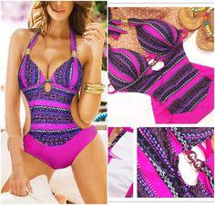 7a80446fa43 Bohemia Hot Sexy Padded Monokini Bikini One Piece Swimsuit Swimwear Small  Bohemian Bikini