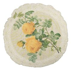 Yellow roses & lace floral vintage pillow round pillow