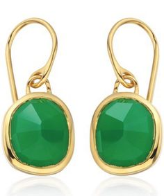 The Gold Vermeil Siren Wire Earrings - Green Onyx from Monica Vinader. Gold Plated Earrings, Wire Earrings, Drop Earrings, Green Earrings, Wire Jewelry, Kate Middleton Earrings, Onyx Necklace, Rainbow Print, Jewelry Branding