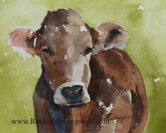 cow painting of cow on CANVAS REPRODUCTION of cow nursery wall hanging LARGE watercolor painting boy nursery art wall art on canvas boy farm