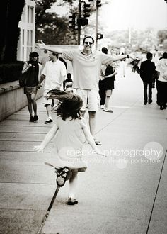 a little girl running to her daddy... her first love (: