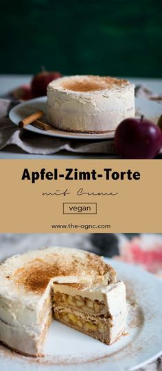 Vegan Apple Cinnamon Cake with Cream Pastel vegano de manzana y canela con crema – The OGNC Apple Cinnamon Cake, Cinnamon Apples, Food Cakes, Desserts Végétaliens, Delicious Desserts, Bolo Vegan, Gateaux Vegan, Cake Recipes, Dessert Recipes