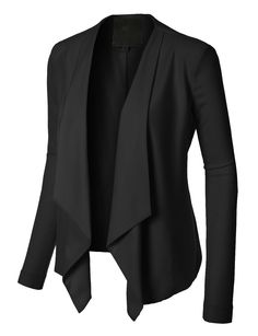 Sharpen your wardrobe with this open front draped long sleeve blazer jacket. A softly draped open-front silhouette softens the look while the asymmetrical hem adds a modern touch to this blazer. This