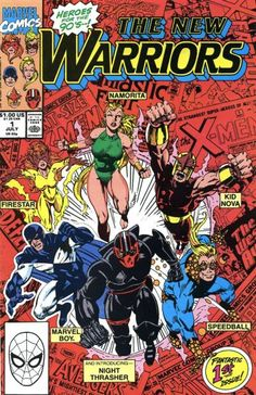 """They're Marvel's teen titans! Night Thrasher, an orphaned heir who self-disciplined as a fighter, gathered young heroes Kid Nova (supposedly depowered after that """"FF"""" arc), Marvel Boy (a young Vance Astro before growing up to be a Guardian of the Galaxy), Firestar (as in """"Spider-Man and His Amazing Friends""""), Namorita (young relative of Sub-Mariner) and Speedball (able to bounce like a red rubber ball)."""