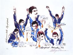 Mark Spitz With Medals, Munich Suite | LeRoy Neiman #leroyneiman